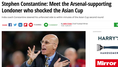 India coach Constantine steered his unfancied side to within minutes of the Asian Cup second round
