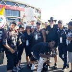 Outside Oakland Coliseum with Raider fans