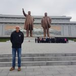 In front of the statutes of Kim II Sung and Kim Jong-il on Mansu Hill, Pyongyang