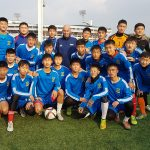 Pictured with the U18s of the local team in Pyongyang